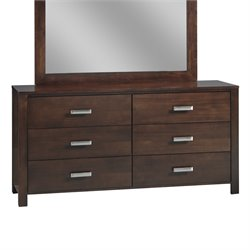 Modus Furniture Riva Six Drawer Dresser in Chocolate Brown