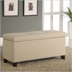 Modus Furniture Urban Seating Storage Bench in Natural Linen