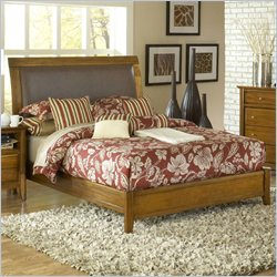 Modus Furniture City II Upholstered Sleigh Bed in Pecan - Full