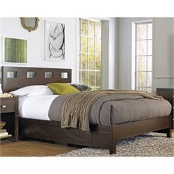 Modus Furniture Riva Platform Storage Bed in Chocolate Brown - Queen