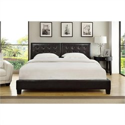 Modus Furniture Ledge Upholstered Platform Bed with Tufted Headboard in Chocolate - Twin