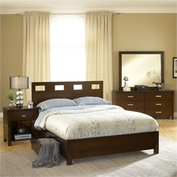 Modus Furniture Riva 5 Piece Storage Bedroom Set in Chocolate Brown