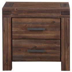 Modus Furniture Meadow 2 Drawer Solid Wood Nightstand in Brick Brown