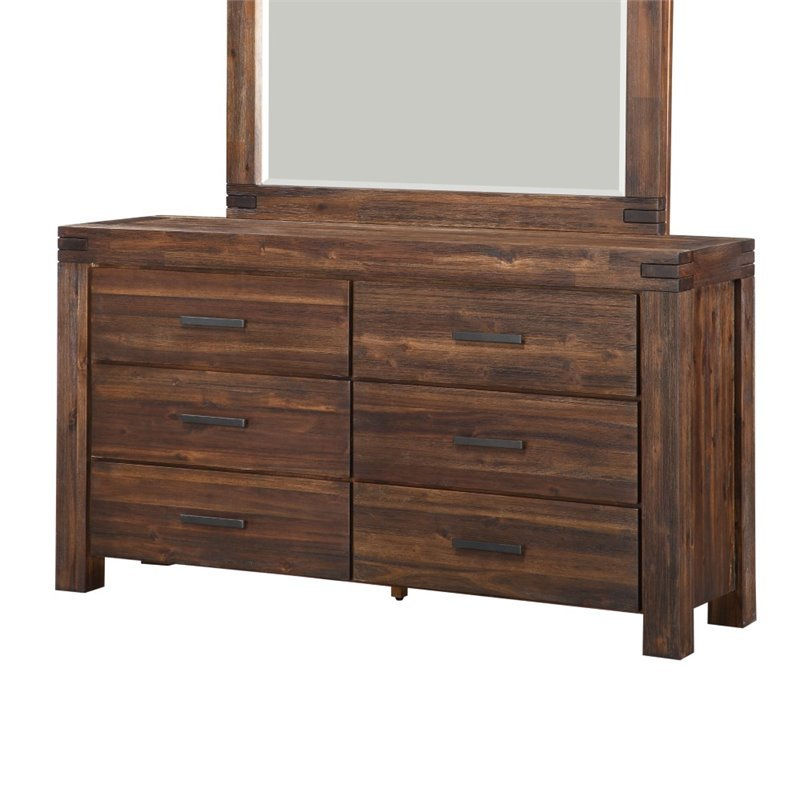 Modus Furniture Meadow 6 Drawer Double Dresser In Brick Brown 3f4182