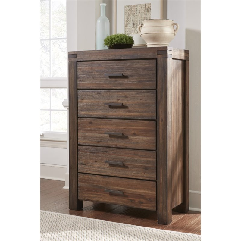 Modus Furniture Meadow 5 Drawer Solid Wood Chest In Brick Brown 3f4184