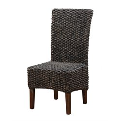 Modus Furniture Meadow Wicker Dining Parson Chair in Brick Brown (Set of 2)