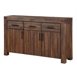 Modus Furniture Meadow Solid Wood Sideboard in Brick Brown
