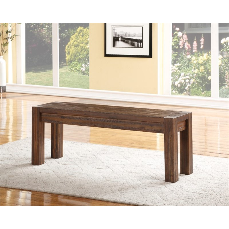 Modus Furniture Meadow Solid Wood Bench In Brick Brown 3f4191