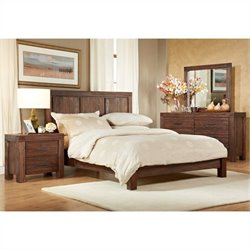 Modus Furniture Meadow 4 Piece Bedroom Set in Brick Brown Finish