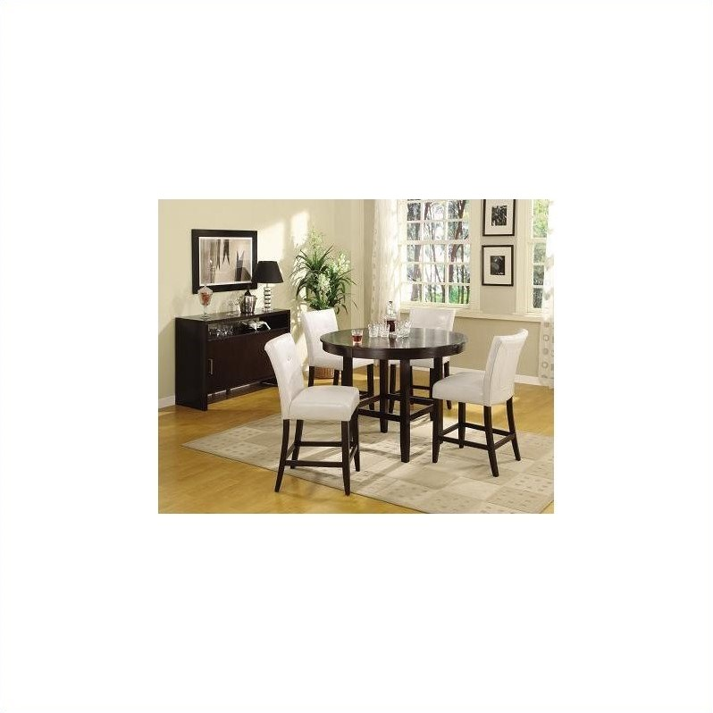 Bossa 6 Piece Dining Set in Dark Chocolate and White