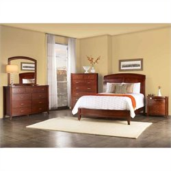 Modus Brighton 5 Piece Wood Sleigh Bedroom Set in Cinnamon