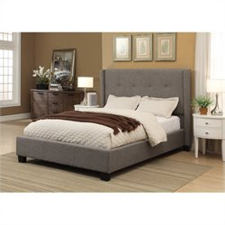 Modus Geneva Wingback Platform Bed in Dolphin - Queen