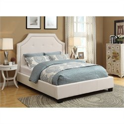 Modus Geneva Nailhead Platform Bed in Ivory - Queen