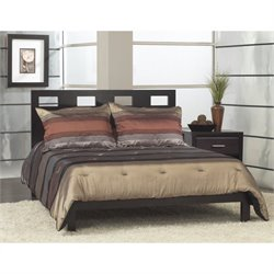 Modus Furniture Nevis Riva Modern Low Profile Platform Bed in Espresso - Queen