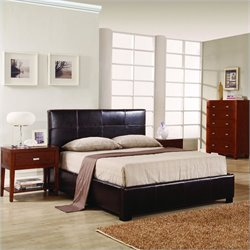 Modus Lucca Upholstered Storage Platform Bed in Chocolate Leather - Queen