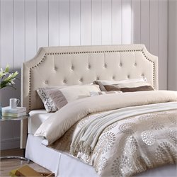 Lifestyle Solutions Lille Upholstered Queen Headboard in Ivory
