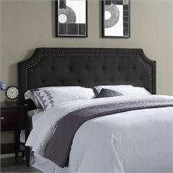 Lifestyle Solutions Lille Upholstered Queen Headboard in Black