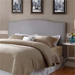 Lifestyle Solutions Dover Nailhead Upholstered King Headboard in Gray