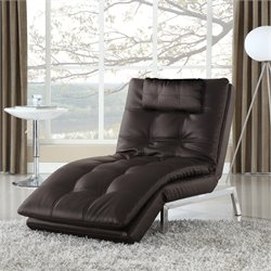 Serta Alexa Leather Chaise Lounge in Java