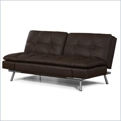 Lifestyle Solutions Matrix Faux Leather Convertible Sofa in Dark Brown