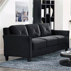 Lifestyle Solutions Hartford Microfiber Sofa In Black