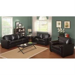 LifeStyle Solutions Siena Leather Sofa Set in Vintage Mocha