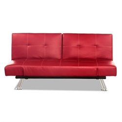 Lifestyle Solutions Galaxy Leather Convertible Sofa in Red
