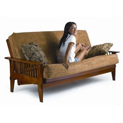 LifeStyle Solutions Fashion Hardwood San Mateo Futon Frame in Medium Oak - Full