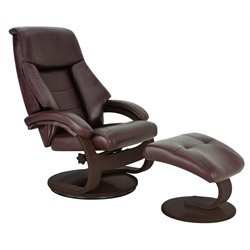 Mac Motion Oslo Swivel Leather Recliner with Ottoman in Merlot