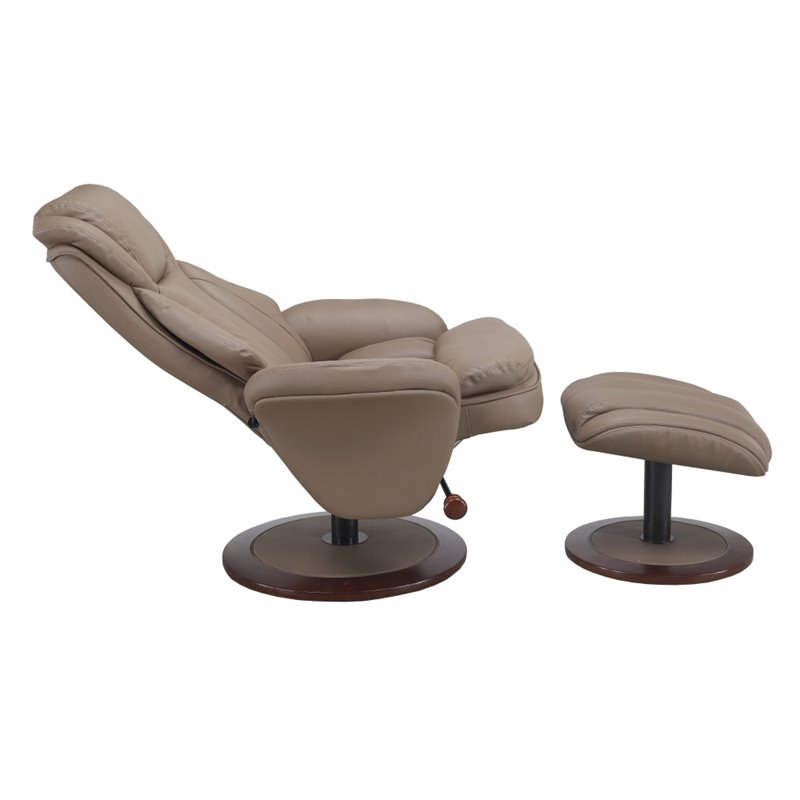 Amazing Mac Motion Comfort Chair Leather Swivel Recliner And Ottoman In Sand Inzonedesignstudio Interior Chair Design Inzonedesignstudiocom