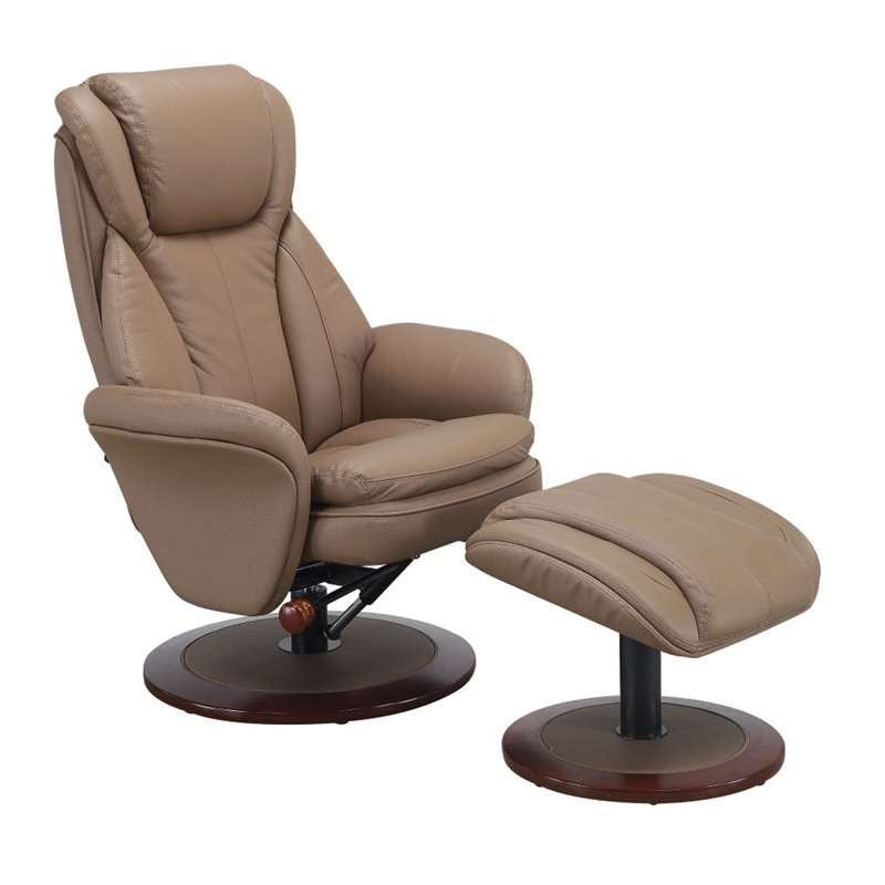 Astounding Mac Motion Comfort Chair Leather Swivel Recliner And Ottoman In Sand Inzonedesignstudio Interior Chair Design Inzonedesignstudiocom