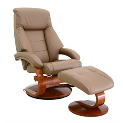 Mac Motion Oslo Swivel Recliner with Ottoman in Sand and Walnut