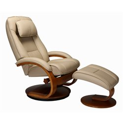 Mac Motion Oslo Swivel Recliner and Ottoman in Cobblestone and Walnut