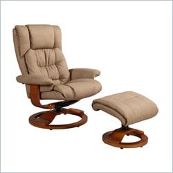 Mac Motion Oslo Swivel Recliner with Ottoman in Stone and Walnut