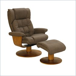 Mac Motion Oslo Swivel Recliner with Ottoman in Chocolate and Walnut