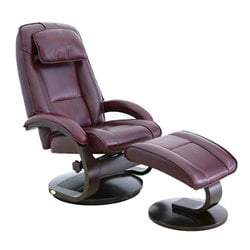 Mac Motion Oslo Swivel Recliner with Ottoman in Merlot and Alpine