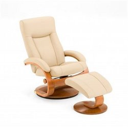 Mac Motion Oslo Leather Swivel Recliner in Cobblestone Walnut