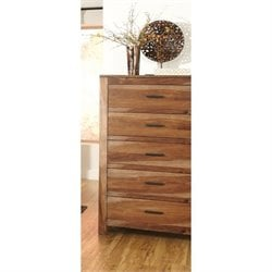 Coaster Peyton 5 Drawer Chest in Natural Brown