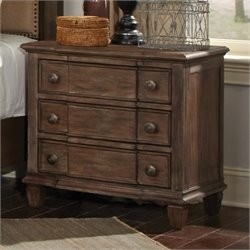 Coaster Dalgarno 3 Drawer Nightstand in Wire Brushed Mushroom