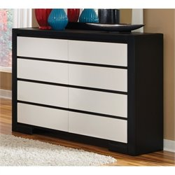 Coaster Kimball 8 Drawer Dresser in White and Black