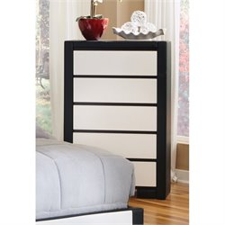 Coaster Kimball 5 Drawer Upholstered Chest in White and Black