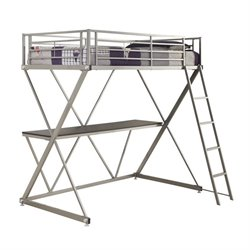 Coaster Twin Workstation Loft Bunk Bed with Desk in Silver