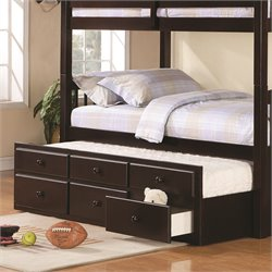 Coaster Logan Trundle Bed with Storage Drawers in Cappuccino