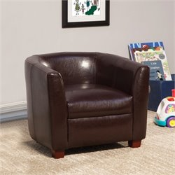 Coaster Dillon Faux Leather Kids Chair in Brown