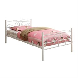 Coaster Twin Iron Bed with Headboard in White