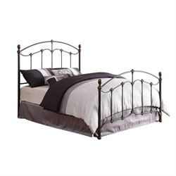 Coaster Yasmine Queen Metal Bed with Headboard in Black Brush Gold