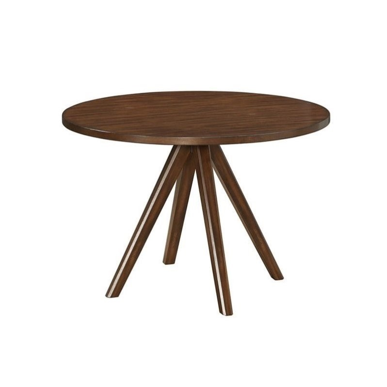 Coaster urbana round dining table in vintage cinnamon 105340 for Table urbana but