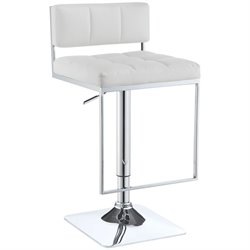 Coaster Adjustable Bar Stool in White and Chrome