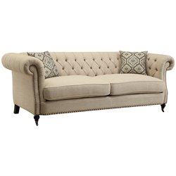 Coaster Trivellato Button Tufted Sofa in Oatmeal