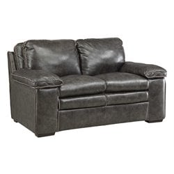 Coaster Regalvale Leather Loveseat in Two Tone Charcoal